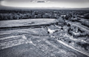 Aerial B&W of farm with Tilt and shift in HDR